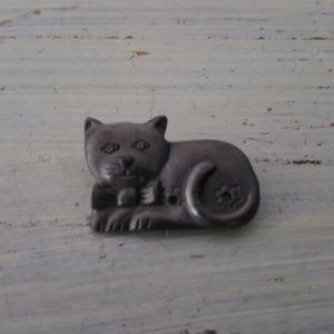 Vintage Cat with Bow Tie Pin Brooch Pewter